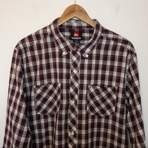 Quicksilver Men Size L Plaid Shirt Organic Cotton